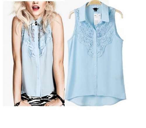 Women Chiffon Lace Sleeveless Top Shirt Casual Blouse Summer
